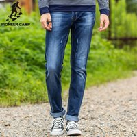 best business casual pants - Pioneer Camp new fashion mens jeans casual fitness sport business long mens pants cotton denim mens jeans best gift to your MEN