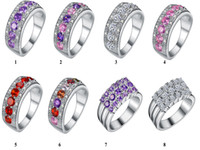 Wholesale Perfect Design New Fashion Sterling Silver Colorful Rings Mixed Style Beautiful Rhinestone for Women Wedding Engagement Part Gift
