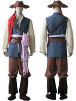 adult jack sparrow costumes - Customized Pirates of the Caribbean Captain Jack Sparrow Uniform Outfit Cosplay Costumes Adult Halloween Carnival Pirates Costume Drop ship