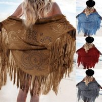 Wholesale Summer Beach Shawl Women s Suedette Cut Out Asymmetric Fringed Cape Kimono Blouse with Tassel Shawls Color Wrap