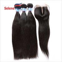 Wholesale 8A Cheap Brazilian Hair Straight Human Hair Wefts with Closure x4 Lace Closure Brazilian Virgin Hair Weaves Bundles Natural Color
