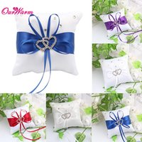 Wholesale 10cm cm Small Wedding Ring Pillow with Ribbon Bowknot Rhinestones Double Heart Wedding Decorations