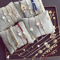 Wholesale Charm Bracelets Women Chains Mixed Many Styles Luxury Rhinestones Diamonds Pearl Alloy Pendant Ropes Crystal Bracelet