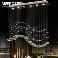 art deco curtain - Rectangle Crystal Chandelier Light Fixture Crystal Curtain Wave Lamp for Ceiling Dining Room Prompt Shipping Guanrantee
