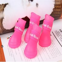 assorted snow - 4X Cute Pet Dog Puppy Rain Snow Boots Shoes Booties Rubber Waterproof Anti slip Assorted Color