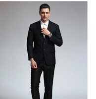 Men ball pants - Top Selling pure Black Lapel Groom Tuxedos More Style Men s formal occasions ball gown Two buckles show thin jacket pants