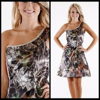 Cheap 2016 Short Camouflage Wedding Dresses One Shoulder Summer Mini Camo Bridesmaid Dresses For Wedding Party Dresses Fashion Bridal Gowns