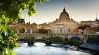 architecture people - Cityscapes architecture Rome Italy old buildings old town trees cathedrals bridges x36 inch art silk poster Wall Decor