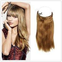 "Cheap Brazilian Hair 10""-30"" Halo Hair Extensions Unprocessed Hair Flip in Hair Extensions #1b,#2,#4,#27,#613"