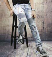 Wholesale HOT Selling World Famous Balmain Jeans Mens Pop Paint Dots And Vogue Zippers Design Travel Denim Trousers Biker Jeans Motorcycles Jeans New