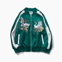 Wholesale Chinese Style Jackets Women - 2016 Autumn Brand New Men Women Long sleeve Embroidery Slim Manchurian Crane Jackets 100% Casual Chinese Style Chinoiserie outwear