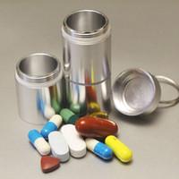 Wholesale 2 x9cm Multi compartment aluminum bottle kit pill case Key chain Outdoor Portable