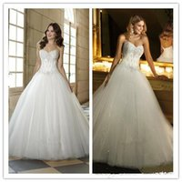 Wholesale Wedding dresses Ball Gowns Strapless Sweetheart Floor Length Lace up Formal Situation Dresses Gorgeous Beaded Sequins Bridal Dresses WB