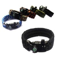multi tool army bracelets rope - E Outdoor Army Utility Tactical Airsoft Hunting Camping Hiking Paracord Lifesaving Bracelet Braided Rope Wrist Band with compass