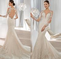 Cheap Exquisite Long Sleeve Mermaid Wedding Dresses 2016 Lace Applique Sequined Covered Button Bridal Gowns Demetrios Bride Dress 2016