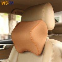 Wholesale 1 Car Pillow Summer Space Memory Fabric Neck Headrest Car Covers Vehienlar Plaid Pillow Car Seat Cover Headrest Neck Pillow
