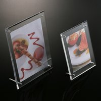 Wholesale New Acrylic Photo Frames Fashion Plexiglass Photo Frames quot quot quot quot quot quot quot A4 Picture Display Holder Desk Stand Picture Frame MN F