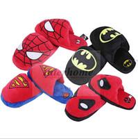 Wholesale Unisex Stuffed Slippers Spiderman Superman Plush Slippers Batman Deadpool Household Shoes Cartoon Winter Household Home Indoor Slipper B566