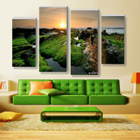 beautiful waterfall pictures - Unframed Wall Deco Panel Sets Beautiful Waterfall Landscape Painting Flowers Modern Wall Art on Canvas Artwork Print Customized Picture