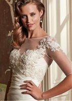 Wholesale New Design Appliqued White Wedding Wrap Short Jacket For Wedding Bolero With Half Sleeves V Back Wedding Coat ASWP08