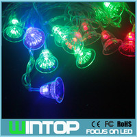 bell garland - AC110V V M LEDs Colorful Jingle Bell Flashing LED String Light Christmas Garlands for Holiday Party Decoration