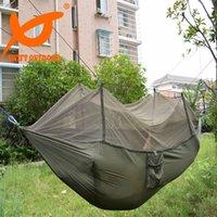Hamacs suspendus gratuits Avis-Livraison gratuite Hamac de nylon à paratonnerelle à haute résistance portable avec moustiquaire en polyester Camping Moustiquaire en plein air hamacs