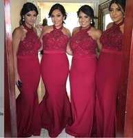Wholesale Dark Red Mermaid Bridesmaid Dresses Hot Halter Neck with Lace Top Backless Floor Length Maid of Honor Gowns Formal Wedding Guest Dress