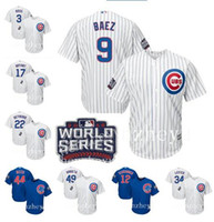 Wholesale Baseball Jerseys Chicago Cubs newcomer Javier Baez Kris Bryant Anthony Rizzo SOSA White Blue Grey Flexbase Authentic