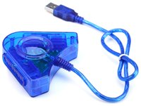 ST302 S-302 Joypad Game USB double lecteur convertisseur câble adaptateur pour PS2 Attrayant Dual Playstation 2 PC USB Game Controller PS2 PS II 1X2