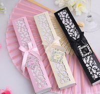 Wholesale DHL Freeshipping Luxurious Silk Fold hand Fan in Elegant Laser Cut Gift Box Black Ivory Party Favors wedding Gifts