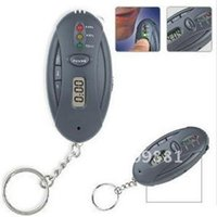 Wholesale 5pcs Mini Keychain Digital LCD Alcohol Analyzer Breath Tester With Flashlight Red LED Light Function