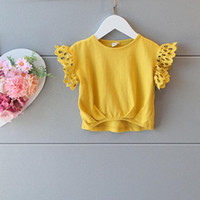 Wholesale New Arrival Summer Kids Girls Lace Sleeve Yellow Tees Ruffles Cotton Cute Baby Girls Fashion Tops Fly Sleeve Tees