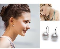 Wholesale Fashion Pair Women Lady Elegant White Pearl Ear Stud Dangle Earrings Gold Silver