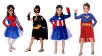 Wholesale 4 Design Halloween costumes spiderman batman Captain America superman dress new cosplay girl Super hero mask dress set