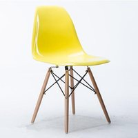 beech wood chairs - Modern PP Living Room Chair Wedding Charis Recreation Chairs New Chairs with PP Yellow Seat and Beech Wood Legs