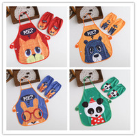 art smock - New Feed baby Cartoon Me Waterproof Printed Kids Childrens Cooking Art Painting Smock Apron Set Sleeveless Aprons Oversleeves