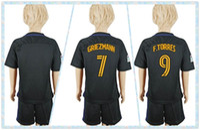 atletico madrid youth - Fast Uniforms Kit Youth Kids Soccer Jersey Atletico Madrid Oliver Gabi Koke Griezmann F Torres Away Black Jerseys