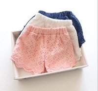 Wholesale 2016 Summer Fashion Korean Style Children Lace Shorts Little Girls Solid Hot Shorts Casual Kids Beach Shorts