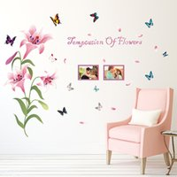 abstract flower wallpaper - 60 cm Beautiful Lily Flowers Wall Stickers DIY Art Decal Removeable Wallpaper Mural Sticker for Living Room Bedroom Kids Room SK9070