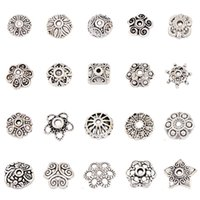 Wholesale DIY mixed model Vintage Tibet silver Floral End safe Alloy spacer Beads Caps jewelry accessories