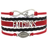 atlanta falcons fans - Custom Infinity Love Atlanta State Falcons Football Bracelet Wax Cords Braided Leather Adjustable Bracelet For Football Fans Drop Shipping
