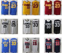Wholesale Men s James Alcindor Wade Johnson Black White Blue yellow Red Throwback jerseys Top Quality Drop Shipping Popular jerseys