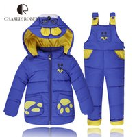 Wholesale Winter Baby Clothing Year Jacket For Girls Boys Overalls Children Clothing Sets Parkas Duck Down Coat Pants Hooded Outerwear