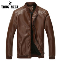 Wholesale Fall Hot Selling Autumn Men s Solid Color PU Leather Asian Size M XL Jacket New Design Male Stand Collar Jacket MWJ1829