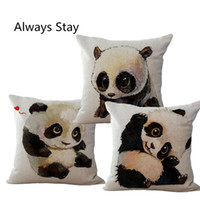 pillow pets - New Arrival Cute Animal Print Cushion Panda Throw Pillows Case Polyester Cotton Linen Pillowcase Cojines Capa Para Almofada
