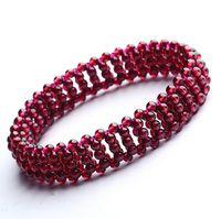 Wholesale Fine Jewelry mm A Grade Natural Garnet Stone Strand Bracelet Handmade Semi Precious Stone YH4814