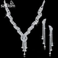 Wholesale Bijoux Femme Rhinestone Wedding Jewelry Sets Bridal Women Tassel Emerald Necklace Earrings Jewellery Set Accessories SET150067
