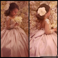 Wholesale Long Sleeves Lace Arabic Floral Flower Girl Dresses Sheer Neck Satin Little Kids Child Vintage Beautiful Girl Wedding Guest Dresses
