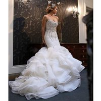Wholesale Robe De Mariage White Mermaid Wedding Dresses Sparkly Crystals Beaded Dresses Sweetheart Tiered Organza Skirt Cathedral Wedding Gown DS