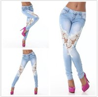 Wholesale 2016 Fashion Lace Women Jeans Plus Size Sexy Hollow Out Flower Hook Tight Feet Pencil Pant Skinny Plus Size Woman Jeans